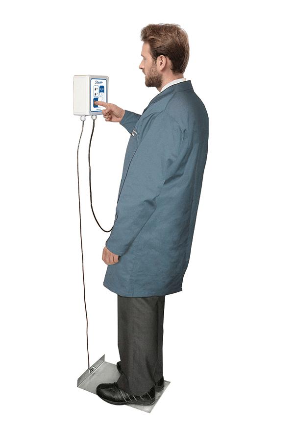 Electrostatic dissipative footwear tester station